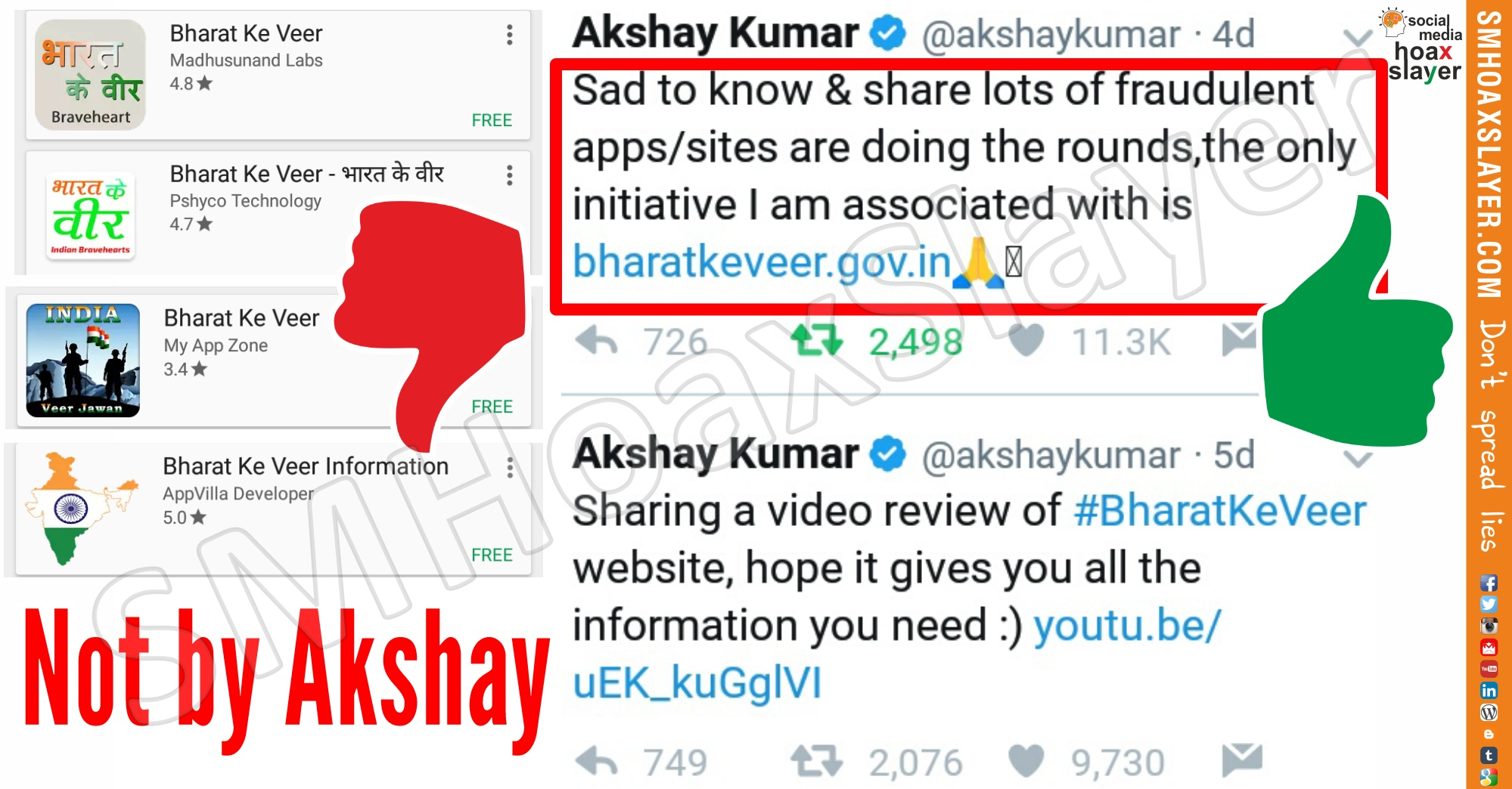 "None of the Apps ""Bharat Ke Veer"" are related to @AkshayKumar, his initiative is a website with the same name."