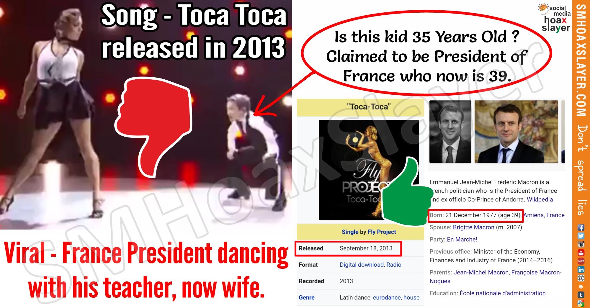 Did France President Macron as kid 'Tango'ed with his Teacher, now wife ? -  :: SM Hoax Slayer :: Swachh Social Media Abhiyaan