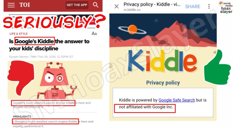 "Dear @timesofindia , Seriously ? Kiddle itself says ""not affiliated with Google Inc."" while you say it does !"