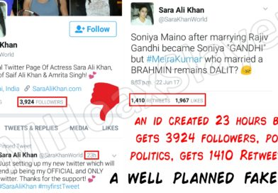 A 23 hours old handle gets 1410 Retweets ? Is that really Sara Ali Khan ?