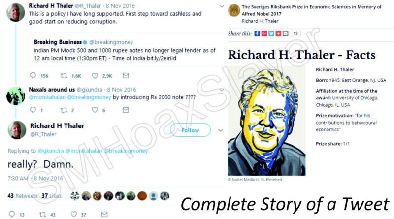Complete story of a Tweet by Nobel winner Richard H Thaler