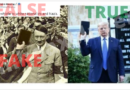 A morphed image of Hitler compared to Donald Trump with a Bible